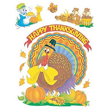 Eureka® Window Cling, Cute Animals thanksgiving