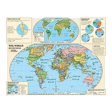 National Geographic Maps Beginners World Map, Grades Kindergarten - 3rd