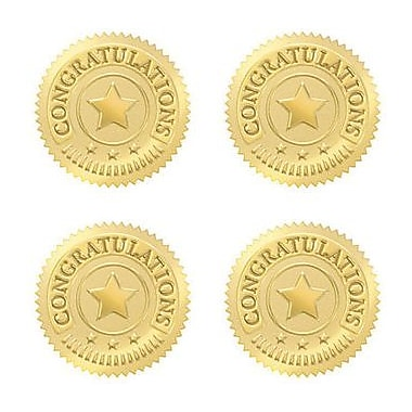 Trend Enterprises® Award Seals Stickers, Congratulations, Gold