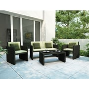 Sonax® Creekside Resin Rattan Wicker Patio Lounge Set, Charcoal Black