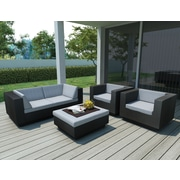 Sonax® Park Terrace Resin Rattan Wicker 5 Piece Sofa Patio Set, Textured Black