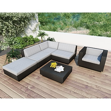 Sonax™ Park Terrace 6-Piece Sectional Patio Set, Textured Black