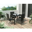 Sonax® Park Terrace Resin Rattan Wicker 5 Piece Patio Dining Set, Black