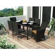 Sonax™ Park Terrace 7-Piece Parson Patio Dining Set, Black Weave