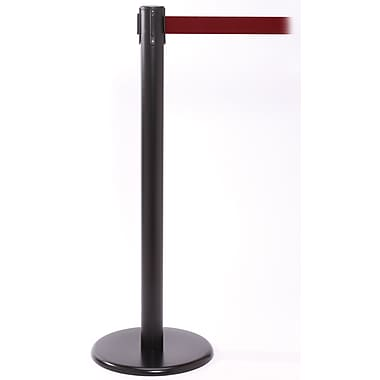 QPro 250 Black Retractable Belt Barrier with 11' Maroon Belt
