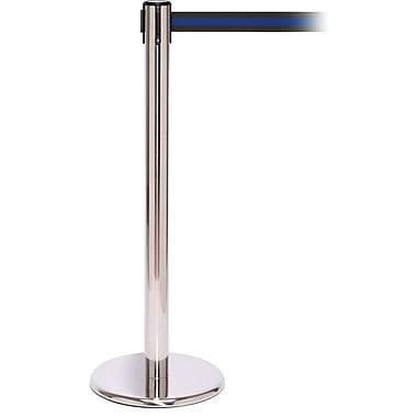 QPro 250 Polished Stainless Steel Retractable Belt Barrier with 11' Black/Blue Belt