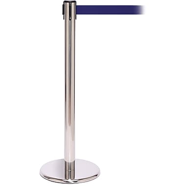 QPro 250 Polished Stainless Steel Retractable Belt Barrier with 11' Blue Belt