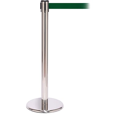 QPro 250 Polished Stainless Steel Retractable Belt Barrier with 11' Green Belt