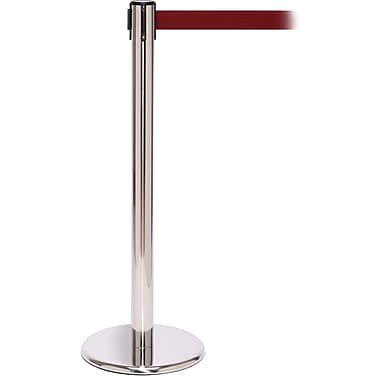QPro 250 Polished Stainless Steel Retractable Belt Barrier with 11' Maroon Belt