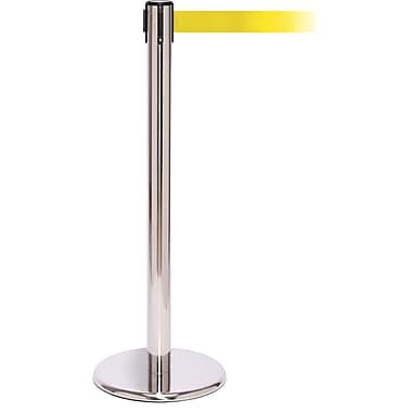 QPro 250 Polished Stainless Steel Retractable Belt Barrier with 11' Yellow Belt
