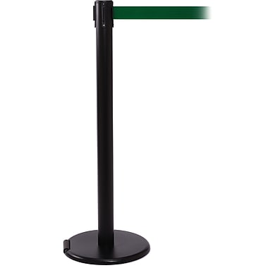RollerPro 250 Black Rolling Retractable Belt Barrier with 11' Green Belt