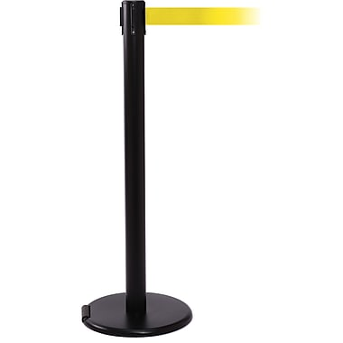 RollerPro 250 Black Rolling Retractable Belt Barrier with 11' Yellow Belt