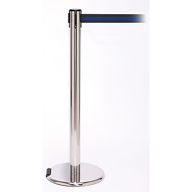 RollerPro 250 Stainless Steel Rolling Retractable Belt Barrier with 11' Black/Blue Belt