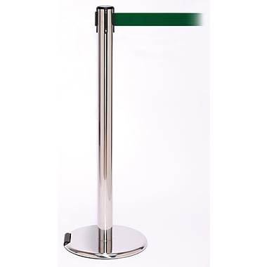 RollerPro 250 Stainless Steel Rolling Retractable Belt Barrier with 11' Green Belt