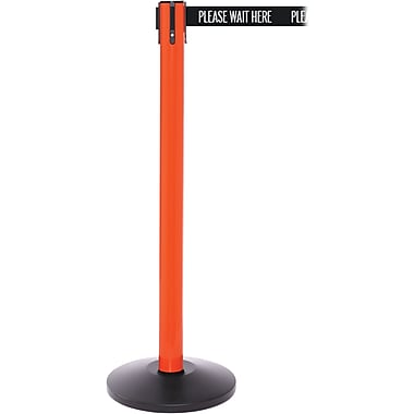 SafetyPro 250 Orange Retractable Belt Barrier with 11' Black/White PL WAIT HERE Belt