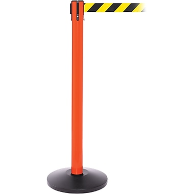 SafetyPro 250 Orange Retractable Belt Barrier with 11' Black/Yellow Belt