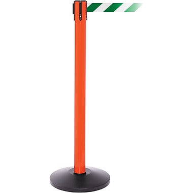 SafetyPro 250 Orange Retractable Belt Barrier with 11' Green/White Belt