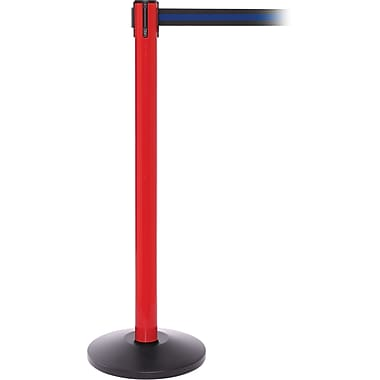 SafetyPro 250 Red Retractable Belt Barrier with 11' Black/Blue Belt