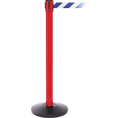 SafetyPro 250 Red Retractable Belt Barrier with 11' Blue/White Belt