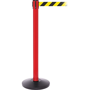 SafetyPro 250 Red Retractable Belt Barrier with 11' Black/Yellow Belt