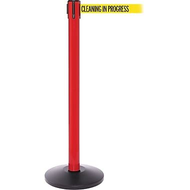 SafetyPro 250 Red Retractable Belt Barrier with 11' Yellow/Black CLEAN Belt