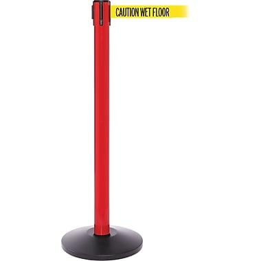 SafetyPro 250 Red Retractable Belt Barrier with 11' Yellow/Black WET FLOOR Belt