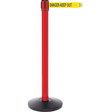 SafetyPro 250 Red Retractable Belt Barrier with 11' Yellow/Black DANGER Belt