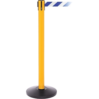 SafetyPro 250 Yellow Retractable Belt Barrier with 11' Blue/White Belt
