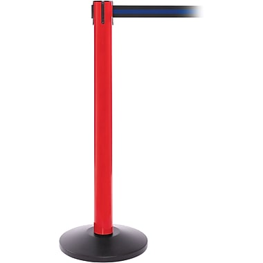 SafetyPro 300 Red Retractable Belt Barrier with 16' Black/Blue Belt