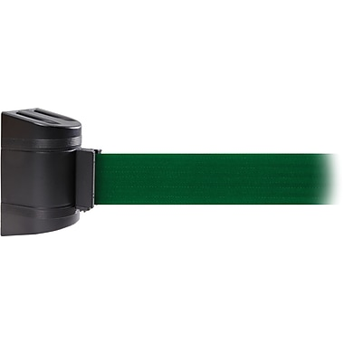 WallPro 300 Black Wall Mount Belt Barrier with 10' Green Belt