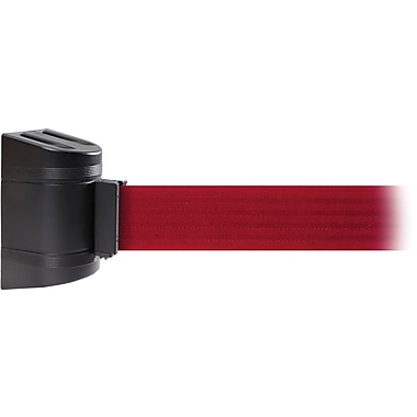WallPro 300 Black Wall Mount Belt Barrier with 7.5' Red Belt