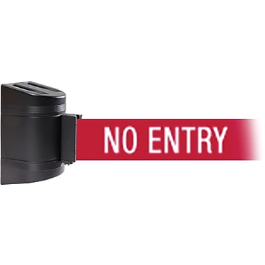 WallPro 300 Black Wall Mount Belt Barrier with 7.5' Red/White NO ENTRY Belt