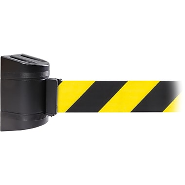 WallPro 300 Black Wall Mount Belt Barrier with 10' Yellow/Black Belt