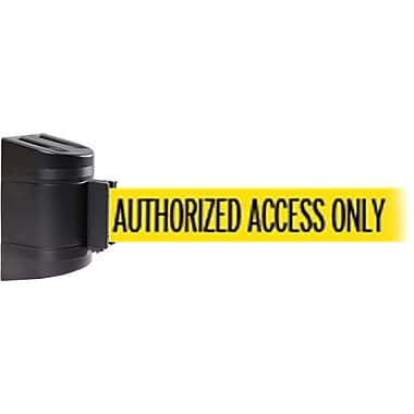 WallPro 300 Black Wall Mount Belt Barrier with 7.5' Yellow/Black AUTHORIZED Belt