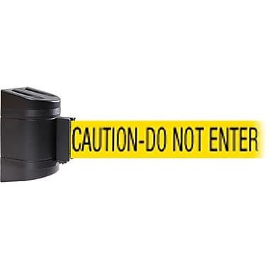 WallPro 300 Black Wall Mount Belt Barrier with 10' Yellow/Black CAUTION Belt
