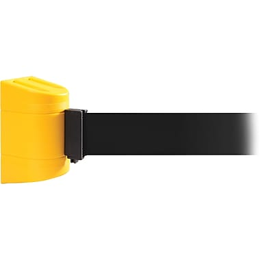 WallPro 300 Yellow Wall Mount Belt Barrier with 10' Black Belt