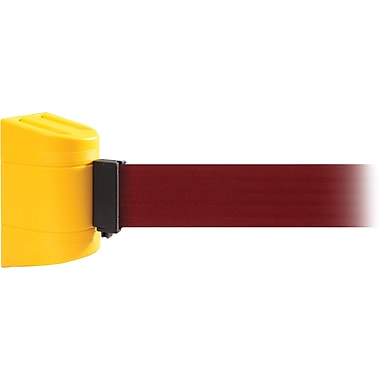 WallPro 300 Yellow Wall Mount Belt Barrier with 13' Maroon Belt
