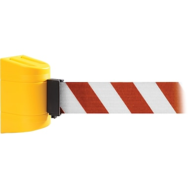 WallPro 300 Yellow Wall Mount Belt Barrier with 10' Red/White Belt