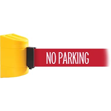 WallPro 300 Yellow Wall Mount Belt Barrier with 13' Red/White NO ENTRY Belt