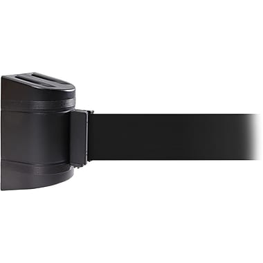 WallPro 450 Black Wall Mount Belt Barrier with 20' Black Belt