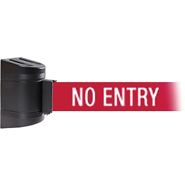 WallPro 450 Black Wall Mount Belt Barrier with 15' Red/White NO ENTRY Belt
