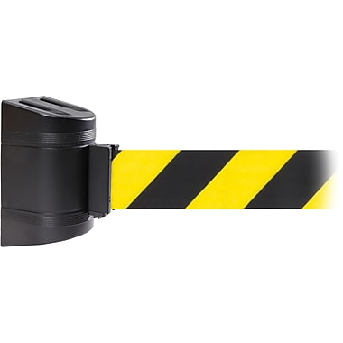 WallPro 450 Black Wall Mount Belt Barrier with 20' Yellow/Black Belt