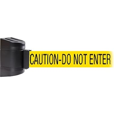 WallPro 450 Black Wall Mount Belt Barrier with 30' Yellow/Black CAUTION Belt