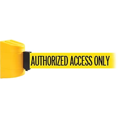 WallPro 450 Yellow Wall Mount Belt Barrier with 30' Yellow/Black AUTHORIZED Belt