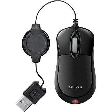 Belkin™ F5L016-USB-BLK Retractable Travel Mouse