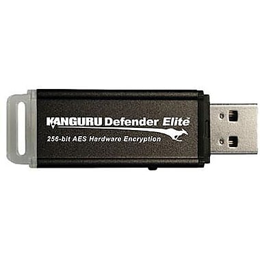 Kanguru™ Defender Elite™ KDFE Black Hardware Encrypted USB 2.0 Flash Drive, 8GB