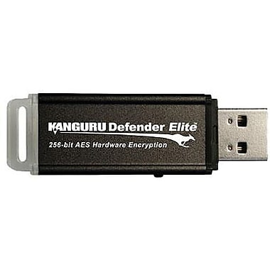 Kanguru™ Defender Elite™ KDFE Black Hardware Encrypted USB 2.0 Flash Drive, 4GB