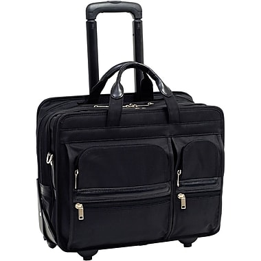 McKlein® Clinton P Series 2-in-1 Removable Wheeled Laptop Case For 17in. Laptop, Black