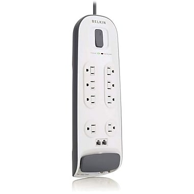 Belkin® BV112230-06 8-Outlets 3000 Joule Surge Protector With 6' Cord, Telephone Protection