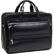 McKlein® Elston P Series Leather Double Compartment 17 Laptop Case, Black